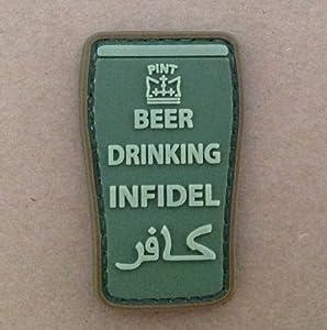 Patch Velcro Airsoft Vert Beer Drinking Infidel Forme de Pinte
