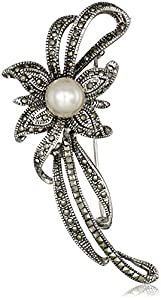 Sterling Silver, Marcasite, and Freshwater Cultured Pearl (12 mm) Pin