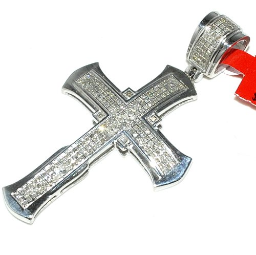 Cross With Diamonds For Men Sterling Silver 40Mm Tall Measures 40Mm Tall front-704146