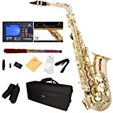 Mendini by Cecilio MAS-30L+92D+PB Rose Gold Brass E Flat Intermediate to Advanced Alto Saxophone with Tuner, Case, Mouthpiece, 10 Reeds and More (Color: Gold)