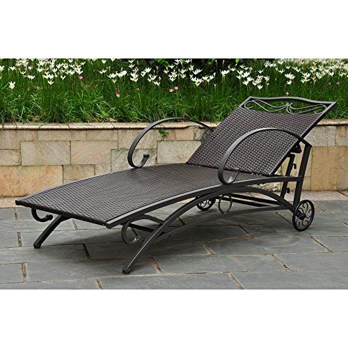International Caravan Lisbon Wicker Contemporary Multi Position Patio Chaise Lounge (Wrought Iron Chaise compare prices)