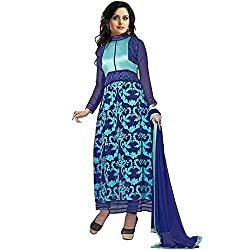 Awesome Fab Blue Georgette Semi-Stiched Embroidered Anarkali