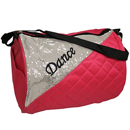 Girl's Quilted Nylon Dance Duffle Bag w/ Silver Shiny Corner (Pink) (Quilted Duffle Bags Under $20 compare prices)