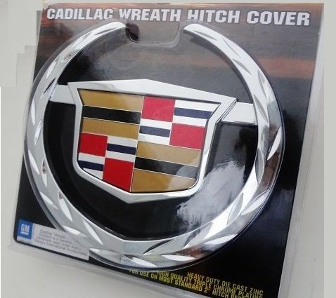 CADILLAC WREATH AND CREST TOW HITCH COVER