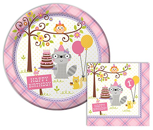 Happi Woodland Girl Happy 1st Birthday Lunch Napkins & Dinner Plates Party Kit for 8