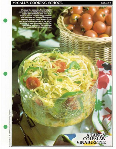 McCall's Cooking School Recipe Card: Salads 6 - Coleslaw With Tomatoes (Replacement McCall's Recipage or Recipe Card For 3-Ring Binders) PDF