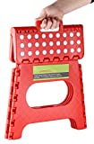 "Greenco Super Strong Foldable Step Stool for Adults and Kids, 11"", Red"