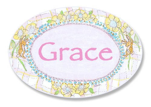 The Kids Room Bunnies Playing With Flowers Personalized Oval Plaque, Grace