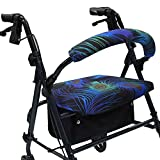 Crutcheze Peacock Feathers Rollator Walker Seat and Backrest Covers Designer Fashion Accessories Made in USA