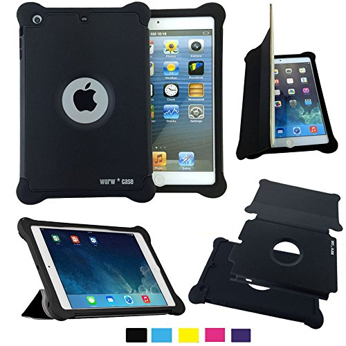 Worw Ipad Mini /Mini 2 Case - Prime Series Folio Leather Flip Smart Cover & Silicone Armor Shockproof Magnetic Case For Apple Ipad Mini 7.9 Inch Tablet - Built-In Book Shell Stand & Auto Wake/Sleep Function - Retail Package (Black)