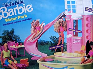 "Wet 'n Wild BARBIE Water Park Playset Over 2-1/2 Feet Tall w Super Slide, ""Drinking"" Fountain & Lots More! (1989 Mattel Hawthorne)"