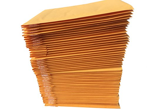 AZ-Cover #000 4x8 KRAFT BUBBLE MAILERS PADDED ENVELOPES 4 x 8, Pack of 50