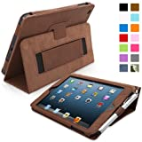 Snugg Distressed Brown Leather iPad Mini & Mini 2 Retina Case with Lifetime Guarantee - Flip Stand Cover with Auto Wake/Sleep, Elastic Hand Strap & Protective Premium Nubuck Fibre Interior for the Apple iPad Mini & Mini Retina