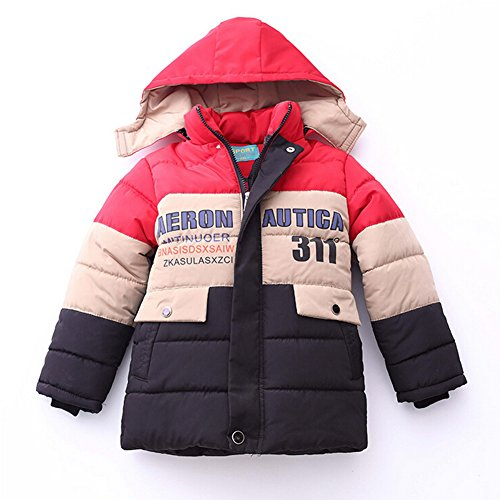 Highdas Boy Winter Warmer Kapuzen Patchwork Jacken Kinder Mantel Baumwolle Thick Jacken Red 2XL