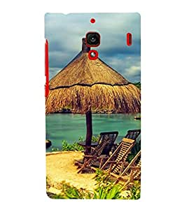 two reclining chairs on a beach 3D Hard Polycarbonate Designer Back Case Cover for Xiaomi Redmi 1S :: Xiaomi Redmi (1st Gen)