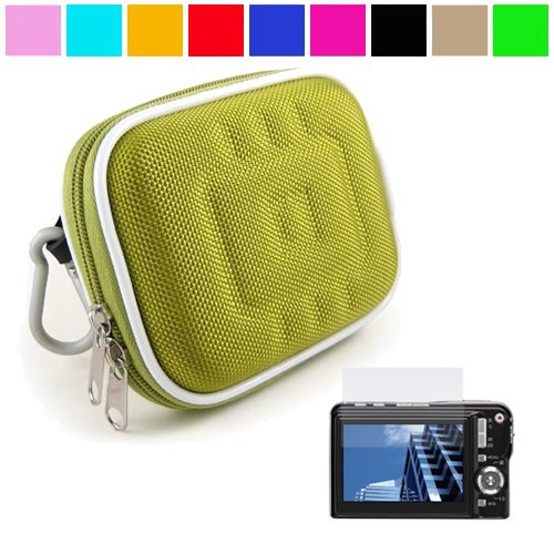 Durable Semi Hard Protective Digital Camera Carrying Case for Canon PowerShot S95 SD1400IS SD1300 SD1400IS SX210IS A3100IS + Universal Screen Protector, Nylon Green+SumacLife TM Wisdom Courage Wristband