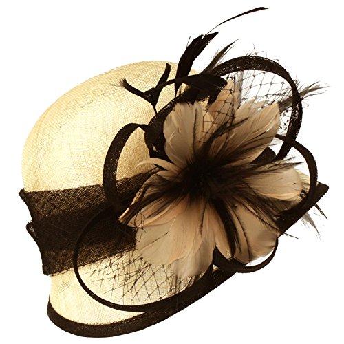 Fancy 1920s Flapper Sinamay Net Feather Floral Cloche Bucket Church Hat Beige