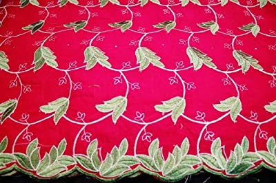 Fuchsia, Poly Cotton Embroidery Lace Fabric, African Design Textile in 10 Colors