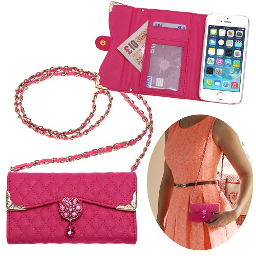 Xtra-Funky Exclusive Luxury Faux Leather Quilted Handbag Purse Style Case With Carry Strap And Beautifully Decorated Crystal Flower For Iphone 5C - Hot Pink (Includes A Mini Stylus And Lcd Screen Protector Film)