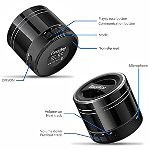 EasyAcc Mini Portable 3W 500mAh Bluetooth 4.0 Speaker with Mic, FM Function, Micro SD Card Support - Black