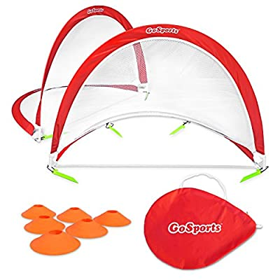 GoSports Portable Pop-Up Soccer Goals, Set of 2, With Cones and Case (Choose from 2.5', 4' and 6' sizes)