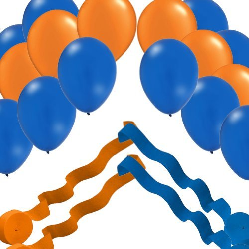 2 Blue & 2 Orange Streamer Rolls and 24 Party Balloons Decorating Kit - 1