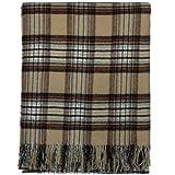 Stewart Camel Tartan Lambswool Blanket Rug