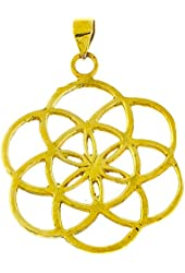 Chic-Net brass pendant Flower of Life wavy 35mm antique golden chain nickel free tribal flower of life
