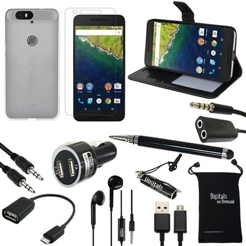 Nexus 6P Case, DigitalsOnDemand ® 11-Item Accessory Kit for Google Nexus 6P – Leather Case, TPU Cover, Screen Protector, Stylus, USB Cable, Car Charger, OTG, Aux, Travel Bag, Earphones & Splitter
