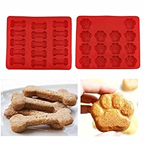 SySrion Puppy Paws & Bones Silicone Baking Molds-Pan-Ice Trays Set of 2