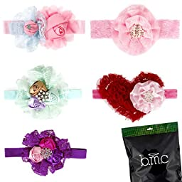 Bunde Monster 5pc Handmade Lace Flowers Elastic Baby Headbands - Mixed Variety