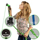 GrowGreen® Garden Hose, 50 Feet, Strongest, Hose, Water Hose, Expandable Hose, Best Hoses, with Free 8-way Spray Nozzle, Rust-free, Watering Hose, Hanger and Shutoff Valve, Flexible Hose,