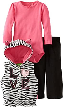 Watch Me Grow! by Sesame Street Baby Girls' 3 Piece Zebra Print Vest Creeper And Pant, Pink, 12 Months