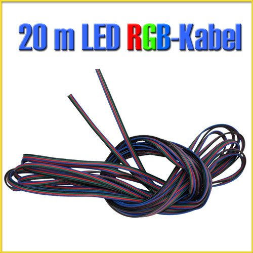 20 m LED RGB Verlängerung Kabel 4 pol für LED RGB Leiste Streifen Strip C420