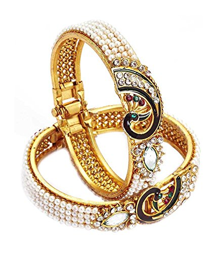 Youbella Multicolor American Diamond Gold Plated Bangle Set For Women