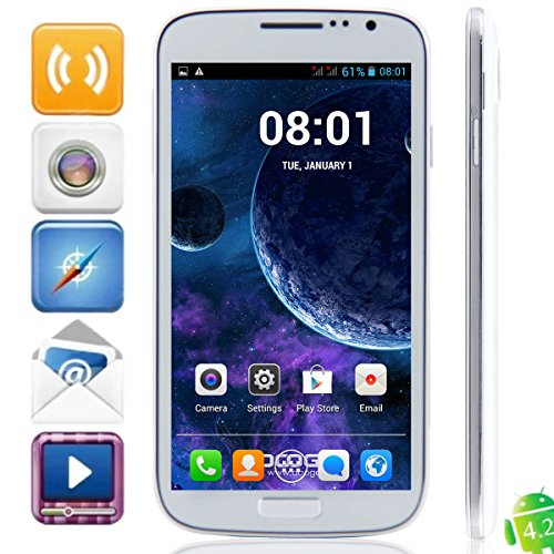 Doogee Voyager Dg300 Mtk6572 Dual Core Cell Phones Android 4.2 Smartphone 5.0Inch Ips Screen 512Mb Ram 4Gb Rom 5Mp Camera Gps (White)
