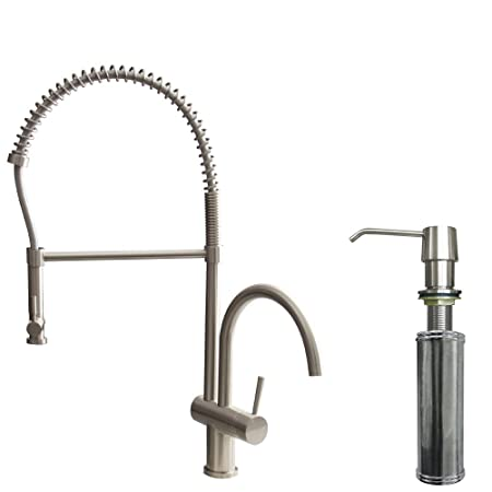 VIGO Dresden Pull-Down Spray Kitchen Faucet with Soap Dispenser, Stainless Steel