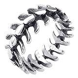 KONOV Bijoux Bague Homme - Biker Punk Rock Gothique Dragon Colonne Vertébrale - Acier Inoxydable - Anneaux - Fantaisie - pour Homme - Couleur Noir Argent - Taille 65