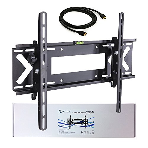 Abacus24-7 TV Wall Mount Bracket [Tilt Adjustable, Low Profile] for Large Flat Screen LED, LCD TV's up to 60 inch, 88lbs and VESA 600X400 – High Speed 6ft HDMI Cable Included