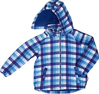 Playshoes Jungen Jacke 430104 Playshoes 3-Lagen Kinder Softshell-Jacke Karo, Gr. 92, Blau (blau/multicolour)