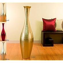 44 Inch Egret Lacquer Floor Vase