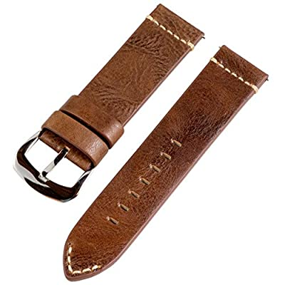 24mm Premium 2 Piece Vintage Brown Leather Interchangeable Watch Band Strap