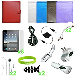 CrazyOnDigital Accessories Case Cover with Charger and Screen Protector for Apple iPad 2 (20-item). CrazyOnDigital Retail Package