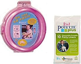On-the-go Potty Portable Travel Toddler Seat Pink Chair Potette With 10 Disposable Potty Liners