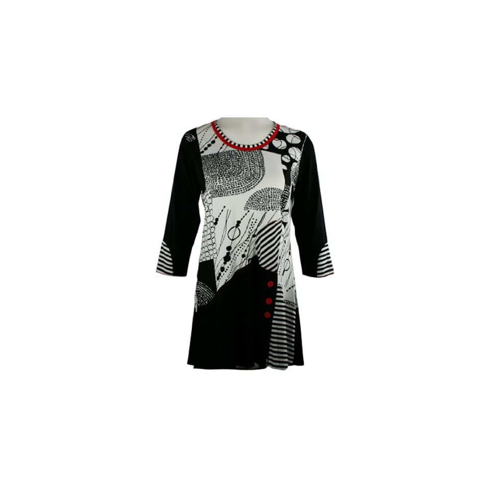 f1ffb56e14e Lior Paris Clothing Circles & Stripes, Black & White Colored Striped Tunic  Top, Red