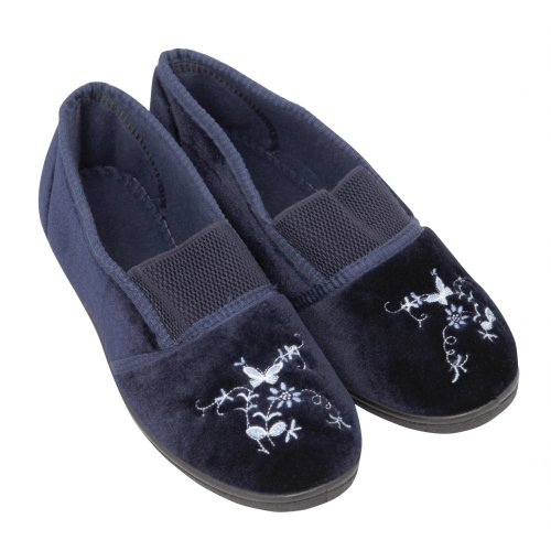 Image of Ladies Soft Butterfly & Flowers Design Indoor Footwear/Slippers (B009BFQC20)