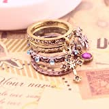 Unique Vintage Antiqued Rhinestone Clover Cross Ring Set Gift For Girls