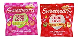 Sweethearts Sour & Classic Tiny Hearts 150th Anniversary 2 Item Bundle - 1 Classic 16 oz Bag, 1 Sour 16 oz Bag