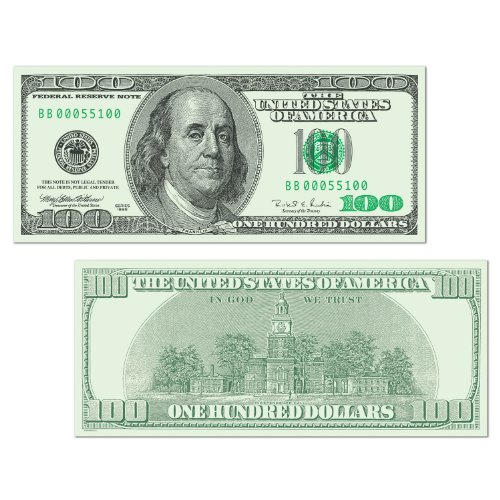 Beistle 55100 24-Pack Big Bucks Cutout Dollar 100 Bill Party Decoration, 7-1/2-Inch By 17-1/2-Inch