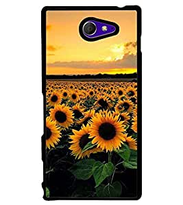 Printvisa Blooming Sunflower Field Back Case Cover for Sony Xperia M2 Dual D2302::Sony Xperia M2